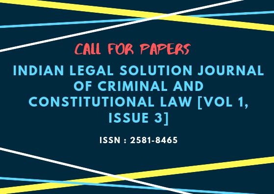 cfp: ILSJCCL, Volume 1 Issue 3, ISSN: 2581-8465.