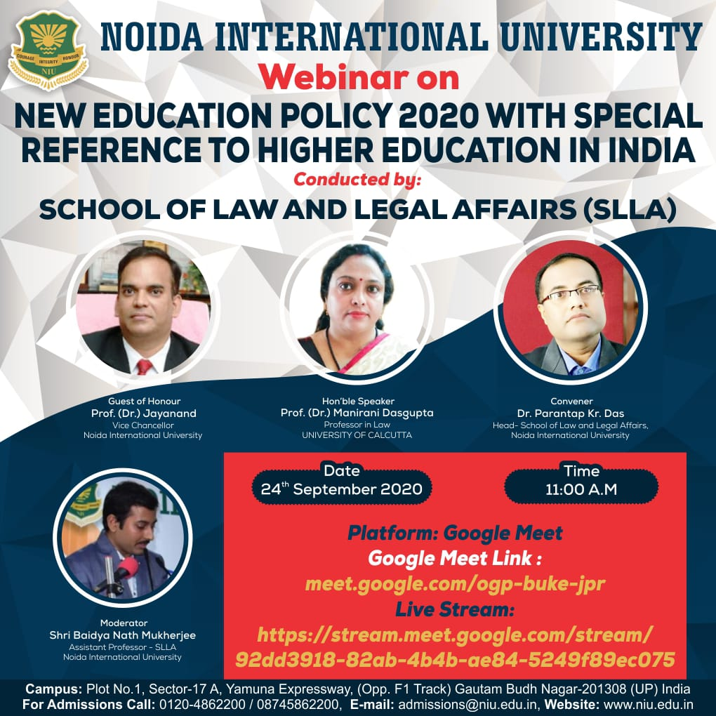School of Law and Legal Affairs, Noida International University webinar on New Education Policy 2020