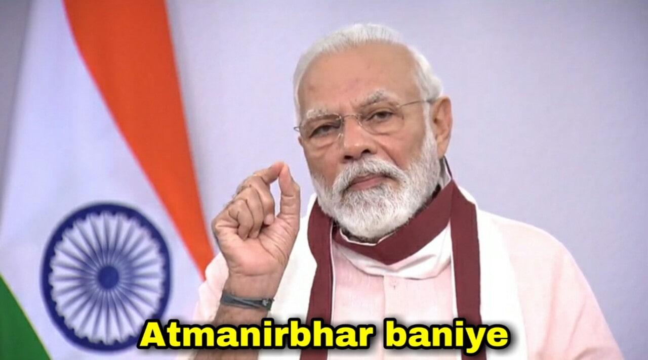 Atmanirbhar baniye narendra modi blank meme template