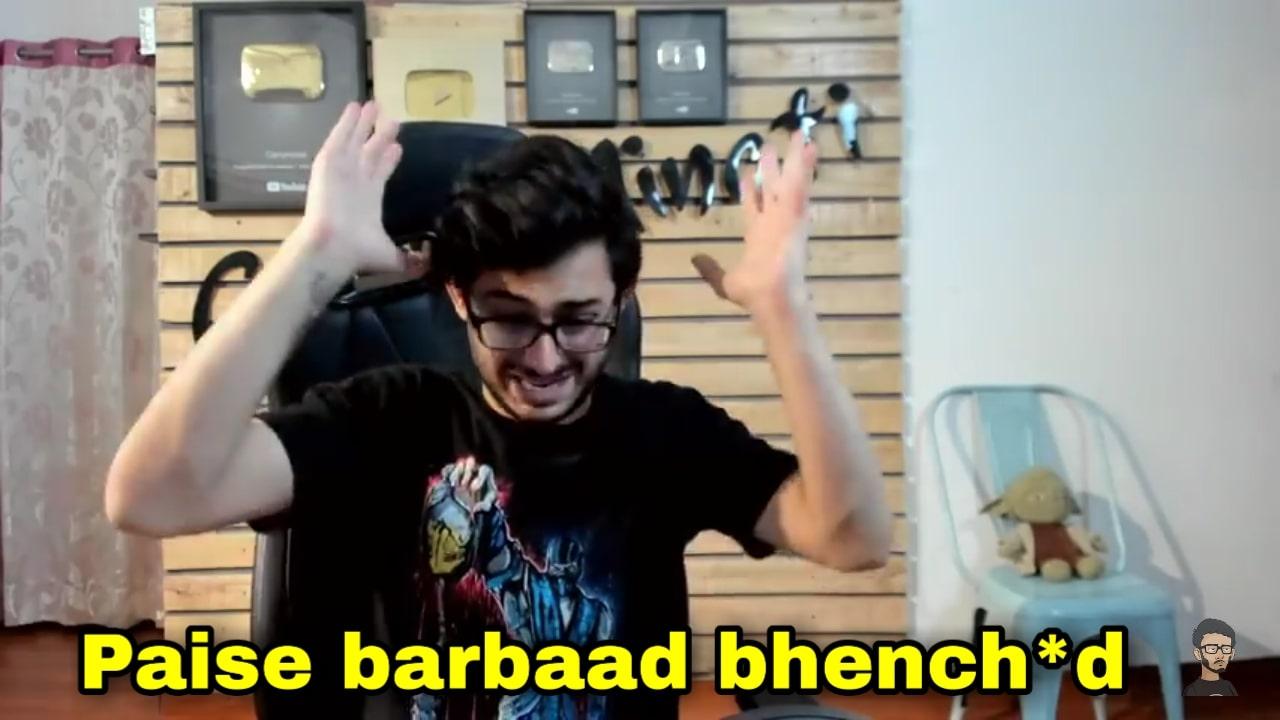 Paise barbaad bhench*d carryminati youtube vs tiktok meme template