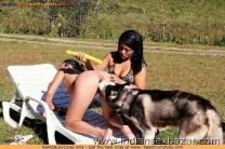 लड़की कुत्ते से चुत और गांड चटवाते हुए कुत्ता लड़की की चुत चाट रहा है (14)