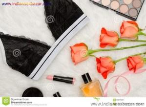 Black Lace Bra White Fur Orange Roses Lipstick Perfume Fashionable Concept Top View 92877337