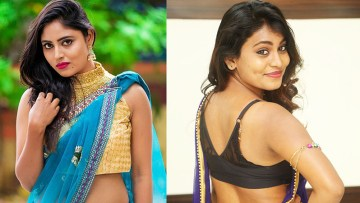 Beautiful and Hot Indian Girls in Blue Saree and Sleeveless Blouse Hot HD Pic