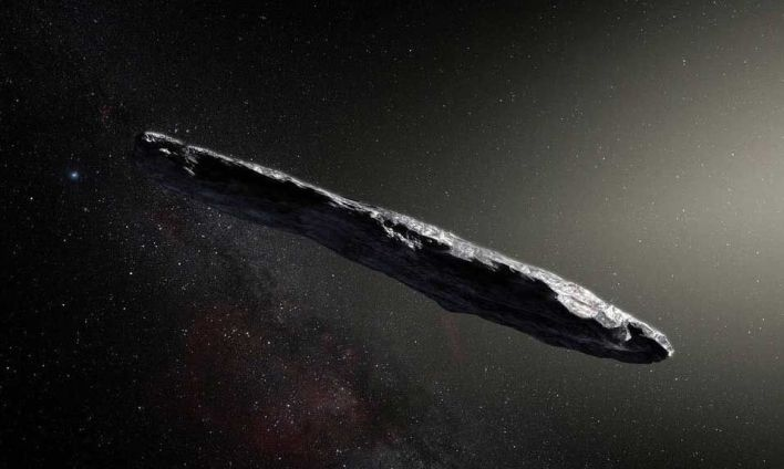 An artist's concept of interstellar object 'Oumuamua as it passed through the solar system after its discovery in October 2017.