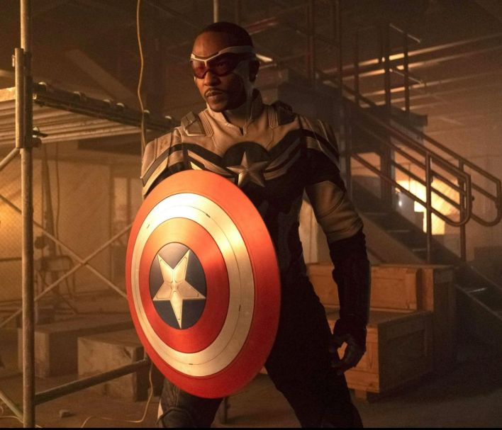 Sam Wilson (Anthony Mackie) under his new Captain America identity in The Falcon and the Winter Soldier