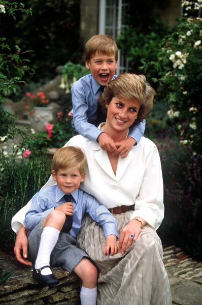 Princess Diana with her sons, William and Harry.