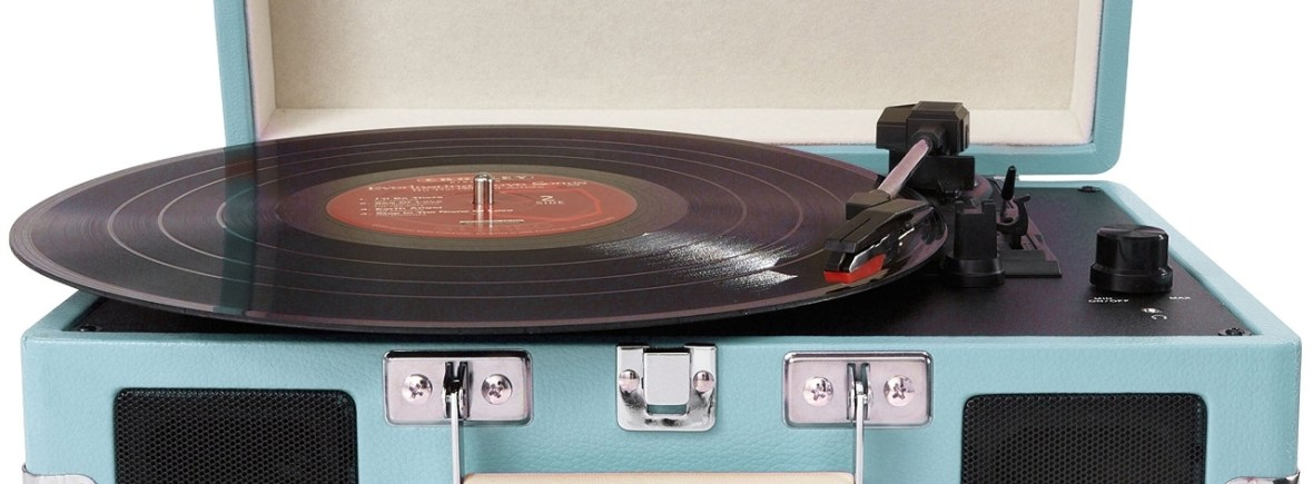 India Rose Strings quartet, trio, duo and singer play jazz and contemporary music - turntable and LP in turquoise suitcase