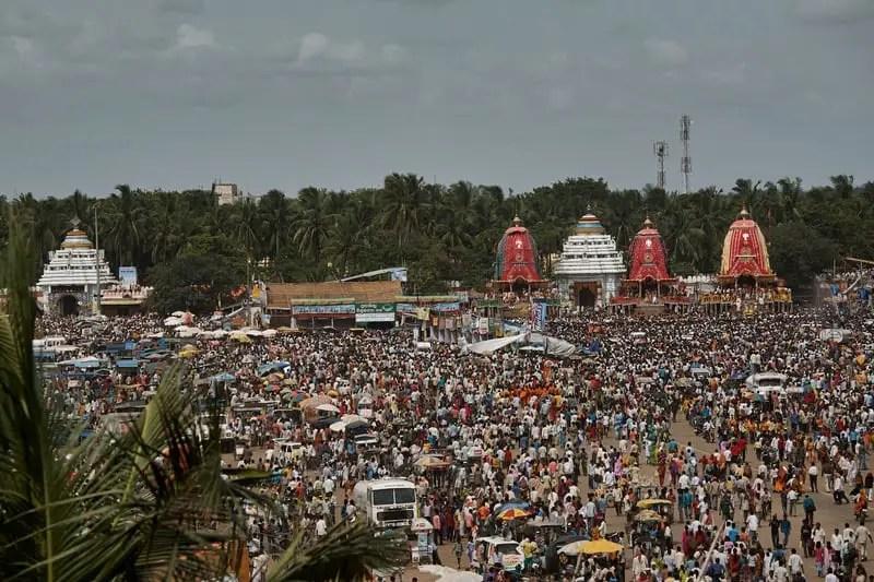 Three chariots of the deities with theShri Gundicha Temple for Ratha Yatra also referred to as Rathayatra, Rathjatra or Chariot festival puri Orissa-INDIA