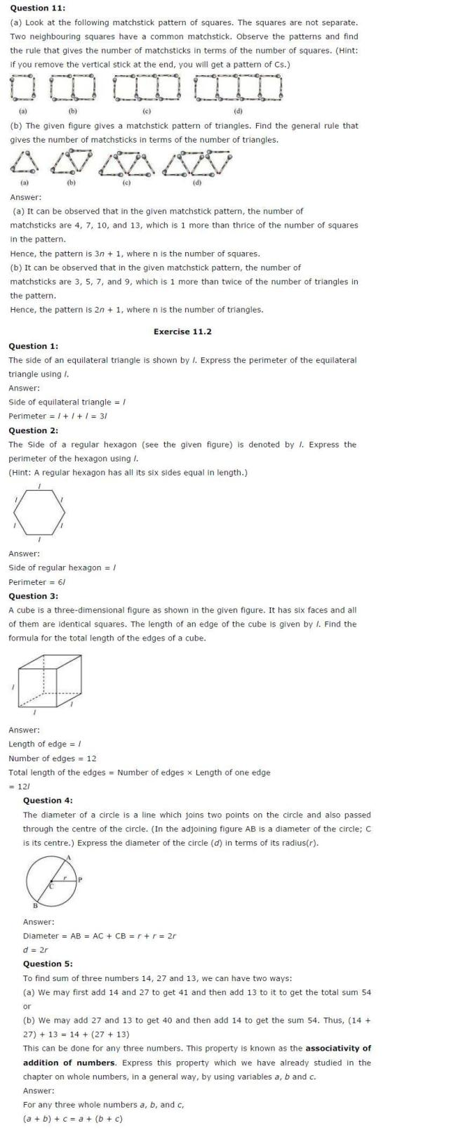 CBSE Solutions for Class 6th Maths: Chapter 11 – Algebra