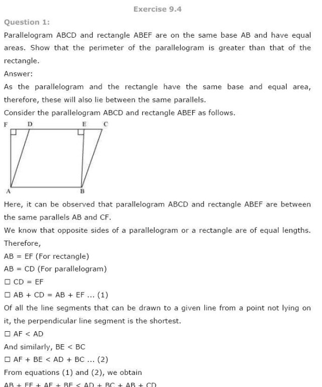 NCERT Solutions For Class 9th Maths Chapter 9 : Areas of Parallelograms and Triangles