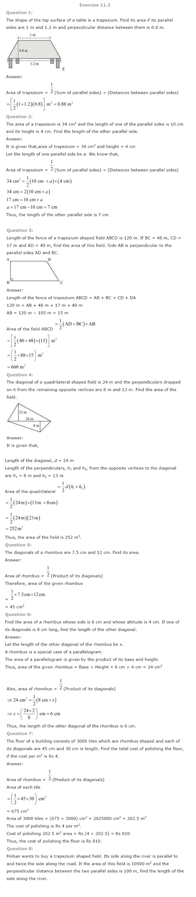 Class 8 NCERT Maths Solutions chapter 11 Mensuration 2