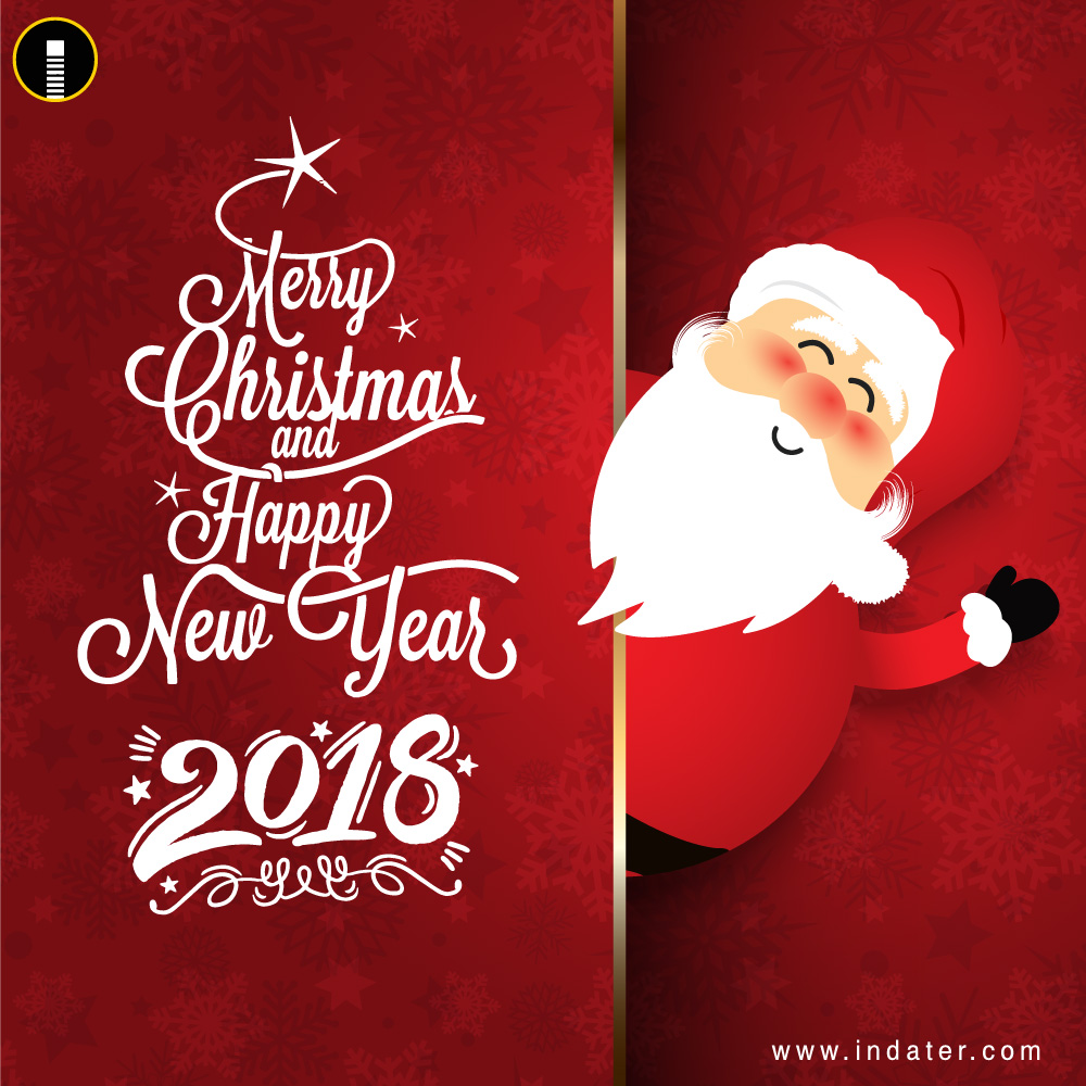 Happy New Year And Merry Christmas Greetings PSD Template
