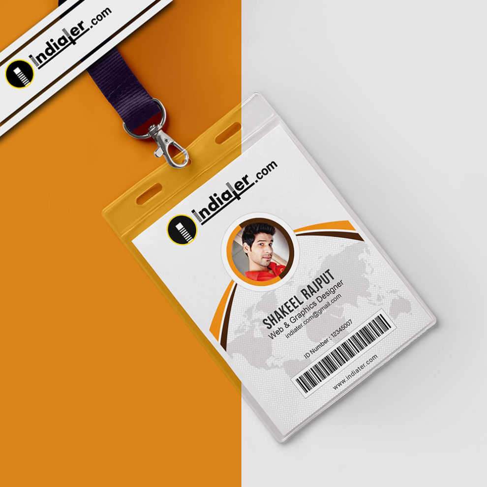 hight resolution of modern office identity card psd template