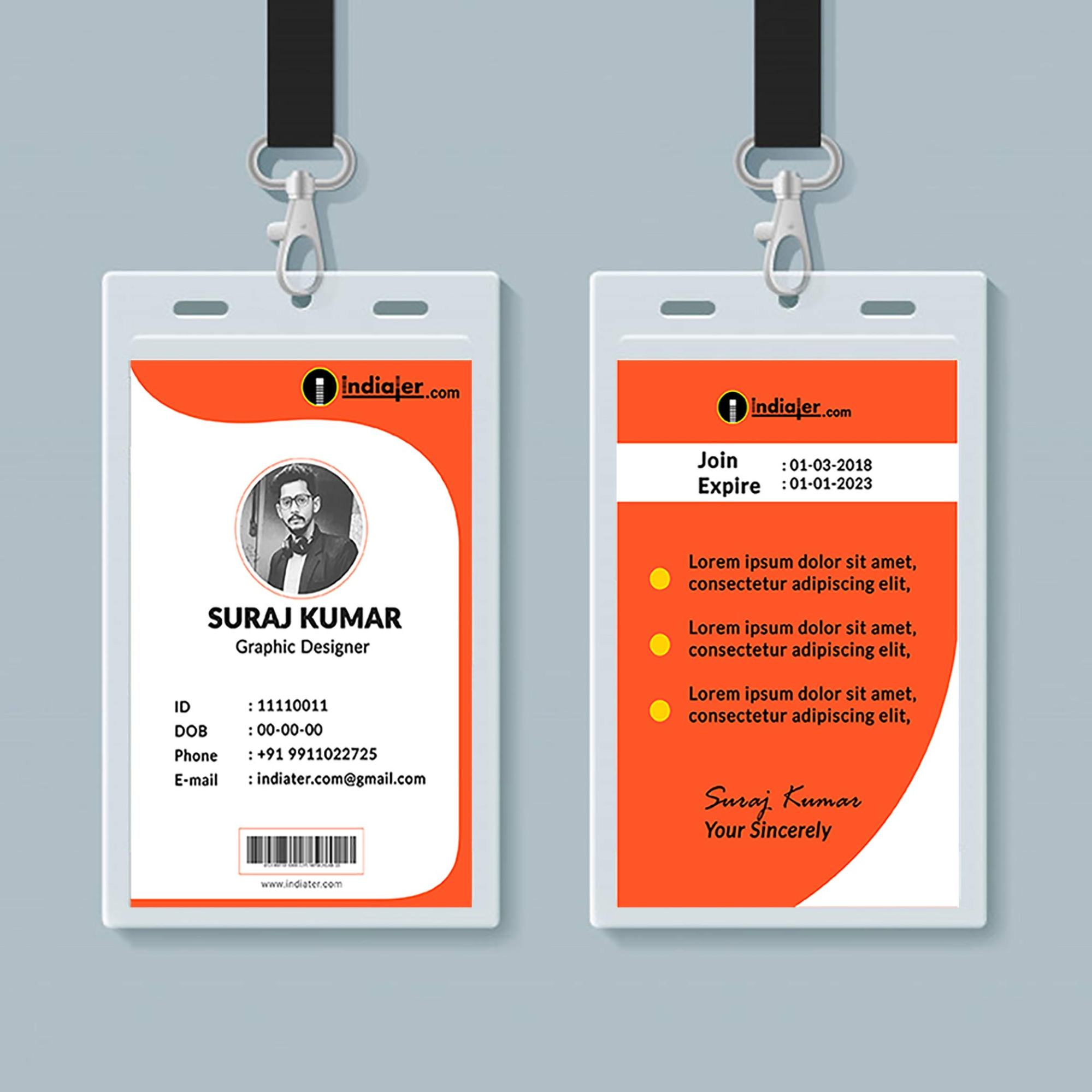 hight resolution of free creative identity card design template psd