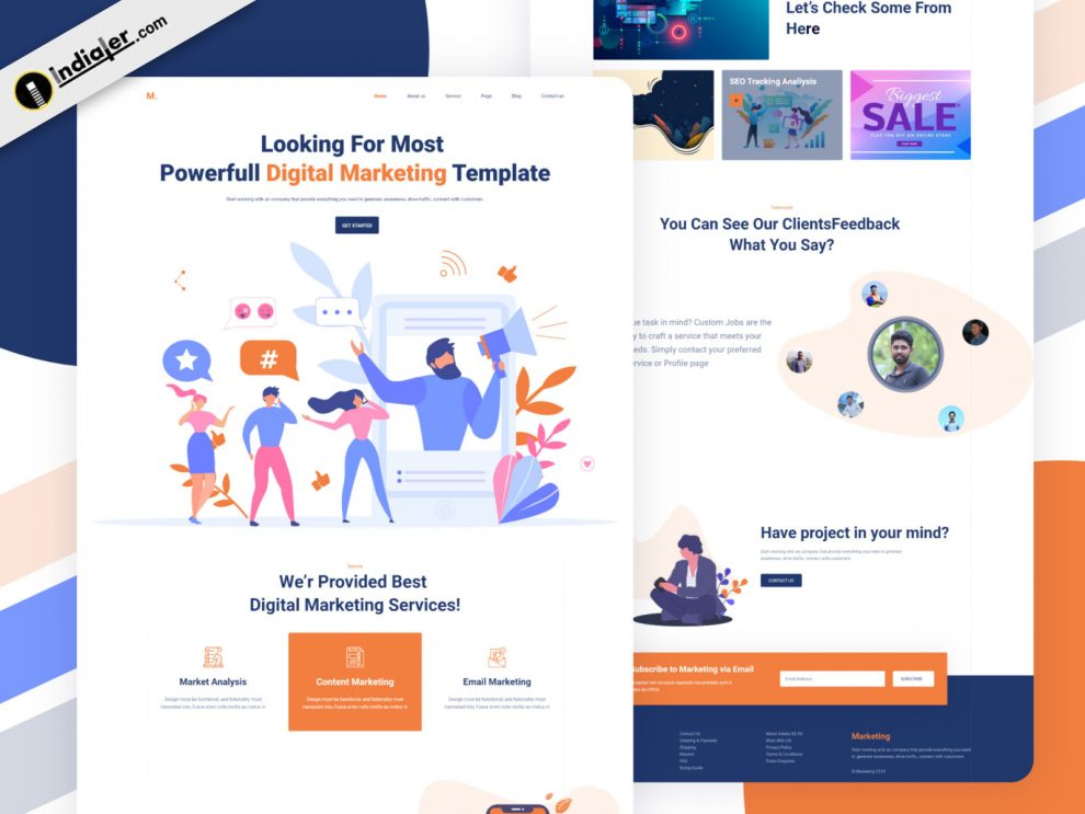Its versatility makes it ideal for digital marketing agencies of various sizes and natures. Digital Marketing Agency Creative Website Template Free Psd Indiater