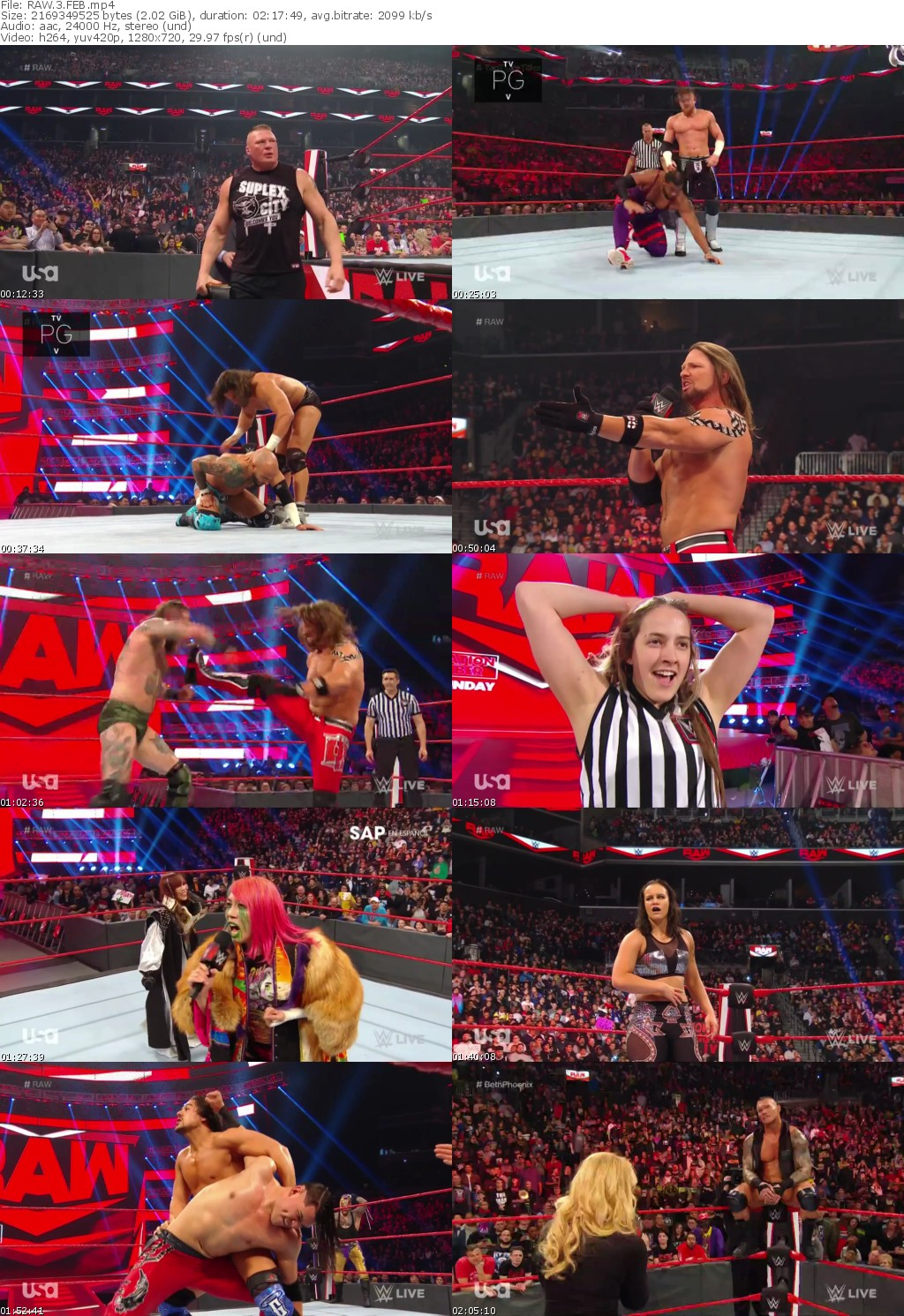 WWE Monday Night Raw 2 March (2020) HDTVRip Full Movie Download Mp4 High Quality HD