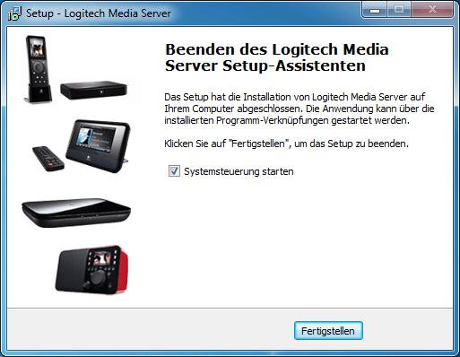 Logitech Media Server: Installation abgeschlossen