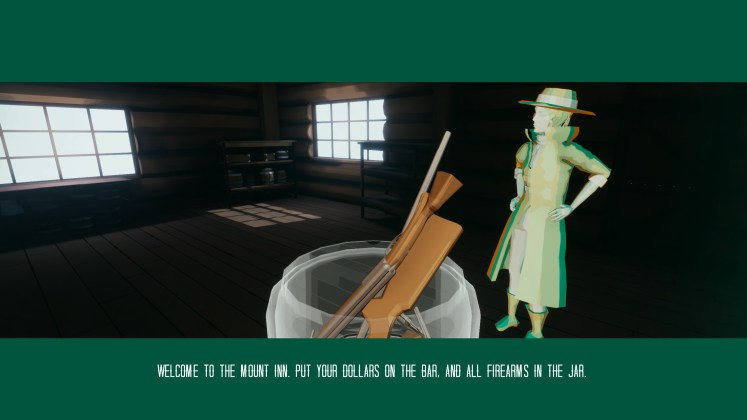 Once Upon a Crime in the West Screenshot of character entering 'Mount Inn'