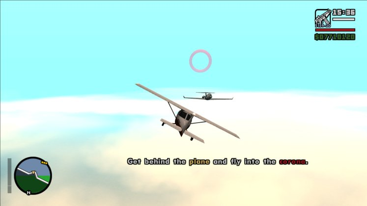 Screenshot of GTA San Andreas. Couldn't we deal with the hitmen on land instead of this?