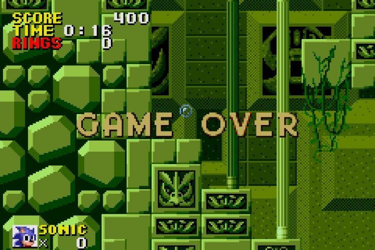Sonic getting a game over in Labyrinth Zone