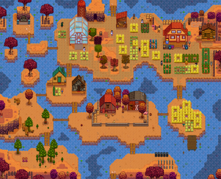 Stardew Valley screenshot showing water farm