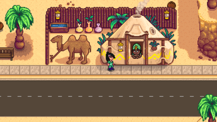 Screenshot of Stardew Valley showing the desert trader.