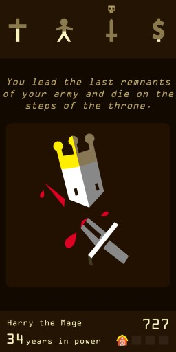 Screenshot of the King dying due to a weak army in Reigns