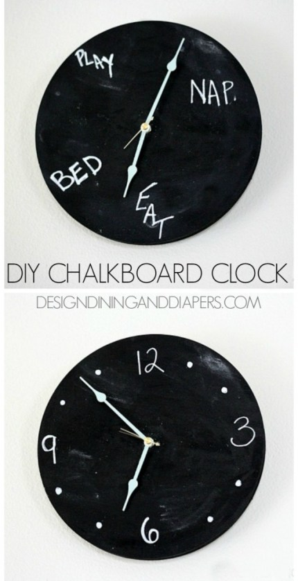 DIY-Chalkboard-Clock-Really-fun-idea-for-a-kids-room-or-kitchen.-via-@tarynatddd