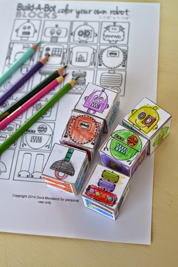 DIY Color Your Own Robot Blocks