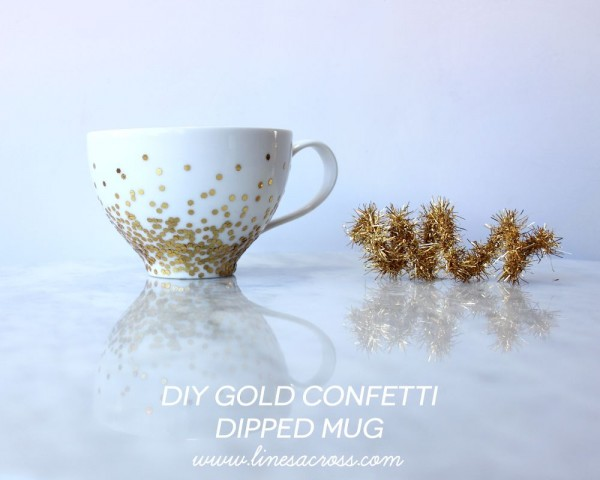 DIY gold confetti dipped mug by Lines Across