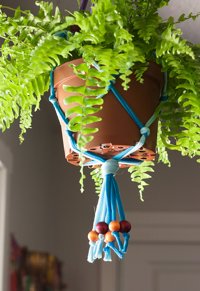 Diy Jersey Macrame Hanging Planter Indie Crafts