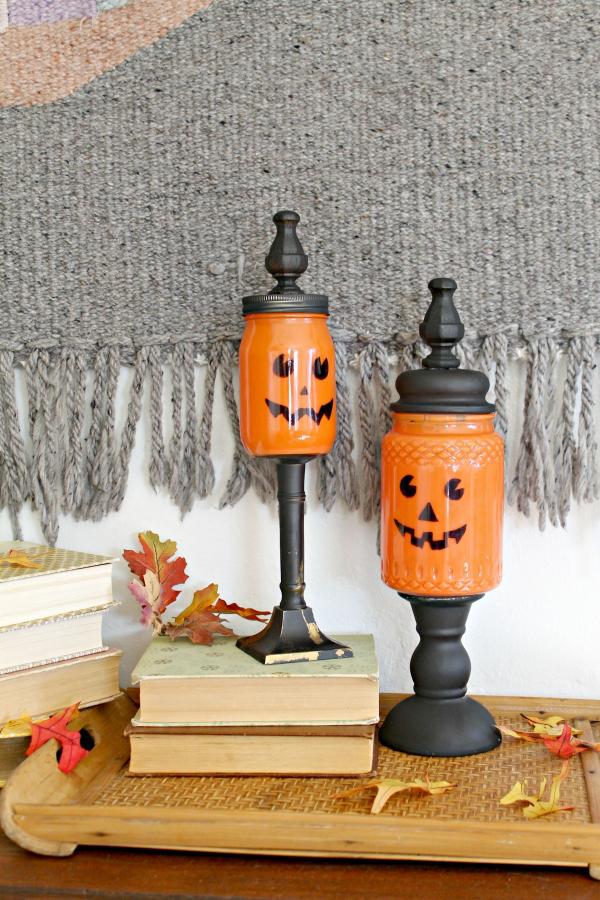 diy mason jar craft pumpkin candy jars indie crafts
