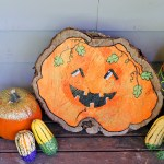 DIY Happy Jack-O-Lantern Wood Slice