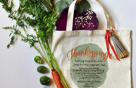 DIY Thanksgiving Menu Iron On Tote Bag + Free Design