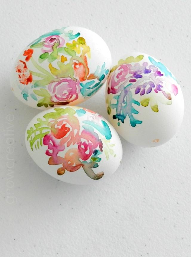DIY Watercolor Flower Easter Eggs Indie Crafts