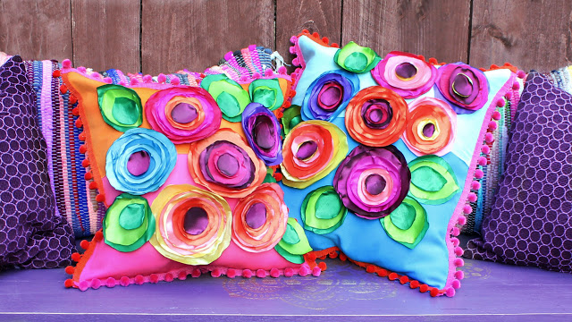 Diy No Sew Flower Pillows Indie Crafts