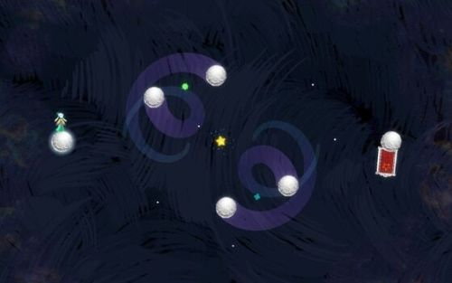 The purple tails on the middle moons show their movement pattern, much like our own moon.