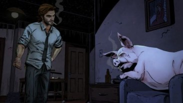 a wolf among us game screenshot - Bigby and Colin the pig