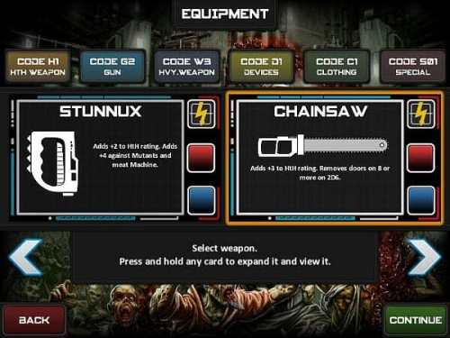 Chainsaw Warrior for iOS weapon selection screenshot