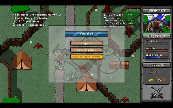 Battlepaths character death screenshot