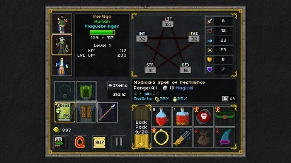 Pixel Heroes, character and inventory management screen