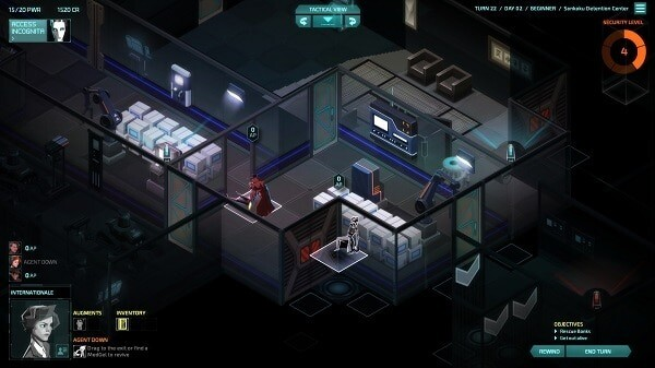 Invisible, Inc.: agent down...drag away that body