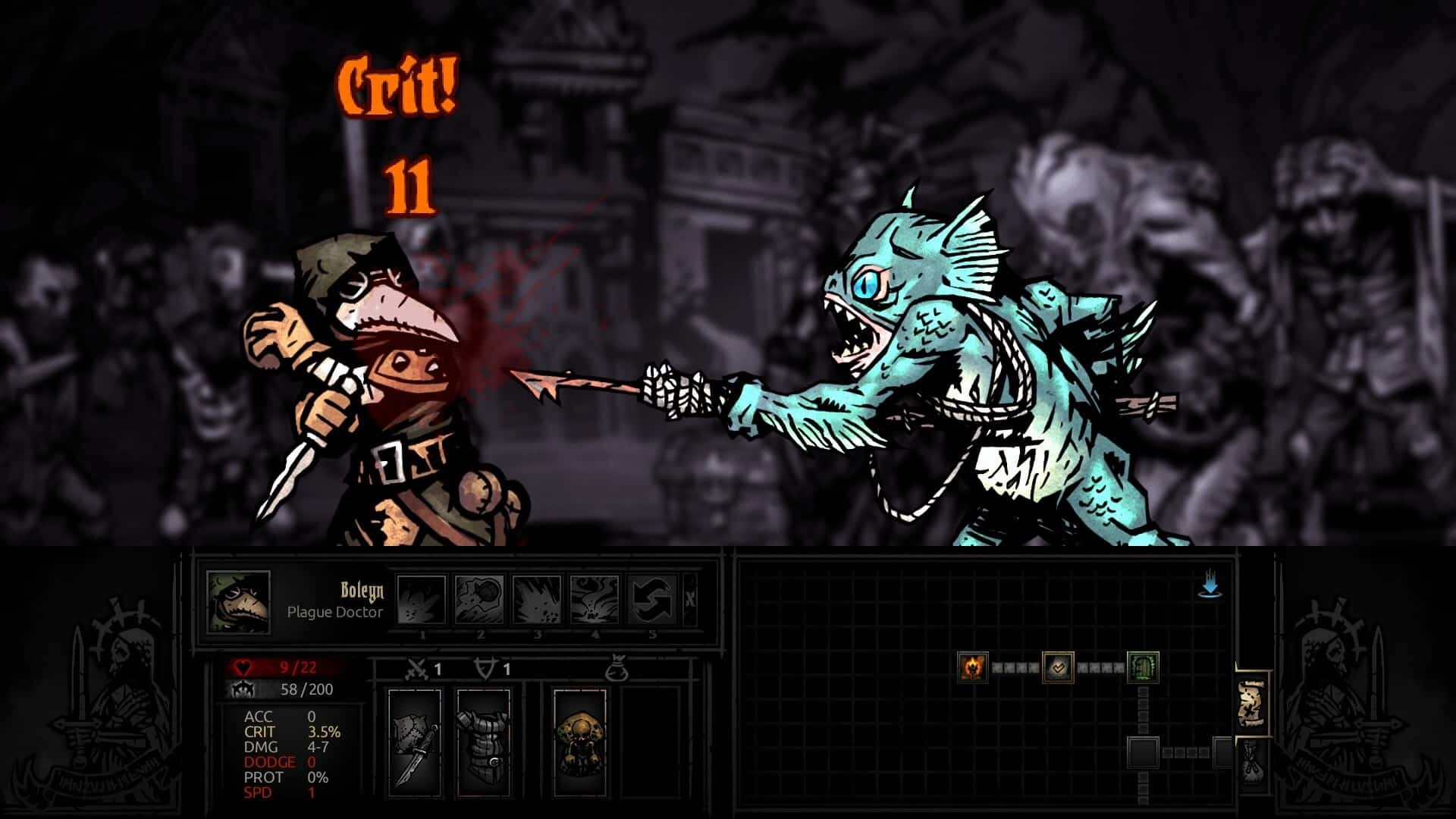 Darkest Dungeon game screenshot, fish monster