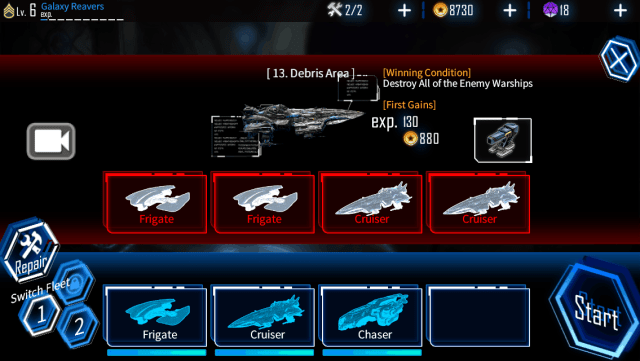 Galaxy Reavers game screenshot, select your ship