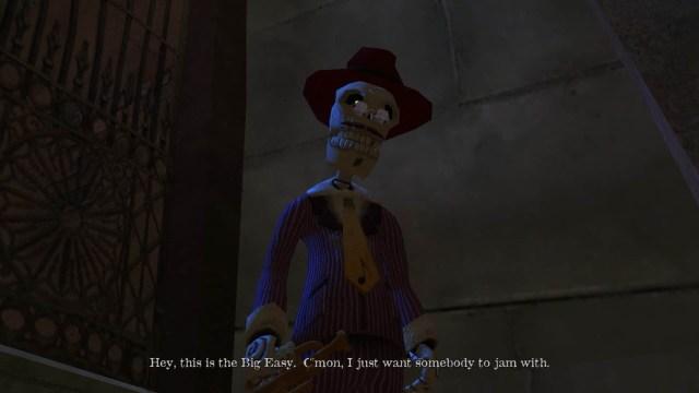 Voodoo Vince game screenshot, jazz skeleton