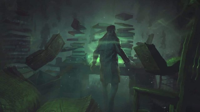 Call of Cthulhu game screenshot, books