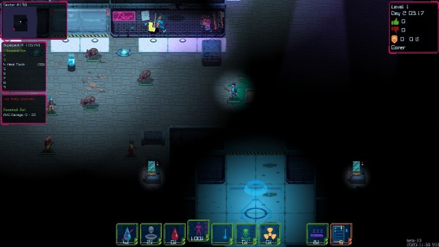 Lethal Running game screenshot, city block at night with giant rats
