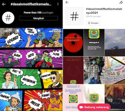 Pameran SMA Negeri 2 Surabaya di Media Sosial Instagram dan TikTok dapat di akses melalui hastag #desainmotifbatiksmadabaya2021
