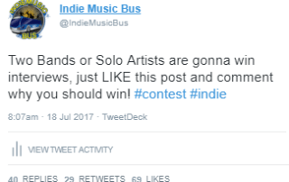 Indie Music Bus Twitter Contests