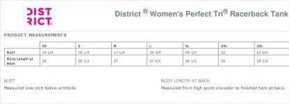 Racerback Tank sizing chart